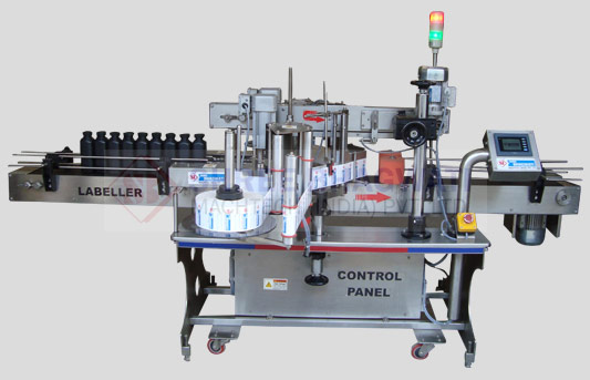 Automatic Two Side (Front & Back) Flat Bottle Sticker Labelling Machine