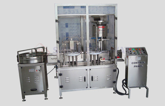 Four Head Liquid Filling with Rubber Stoppering Machine for Vials